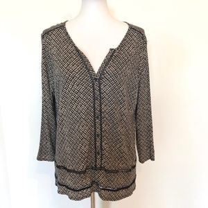 Lucky Brand Button Front Knit Stretch Top Back Tan